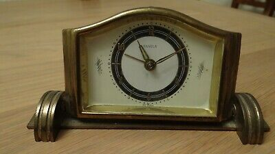 Vintage Small Solid Brass  Ranela Mechanical Mantle  Clock 'Spares or Repair. '