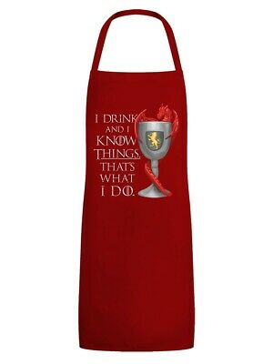 Apron I Drink & Know Things Red
