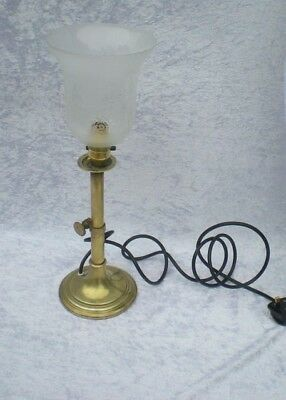 Brass Candlestick Lamp With Etched Glass Light Shade