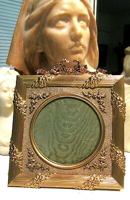 Stunning Antique Gold Gilt French Dore Bronze Picture Frame ~ Bow Top