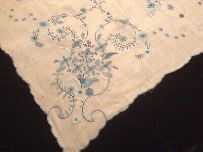 Vintage Exquisite Linen  With Shades Of  Blue Hand Embroidered Flowers.