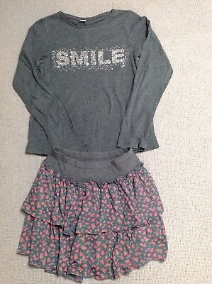 1 X Grey Flowery NEXT Skirt 1 X TU Smile Sequin Logo Grey Top Aged 11 Years