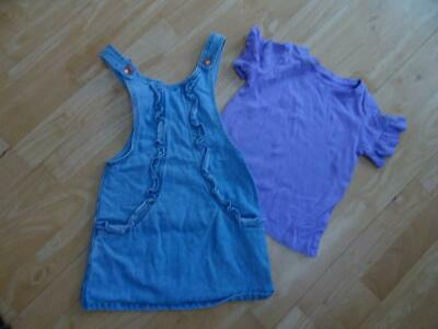 NEXT girls 2 pack blue denim frill front pinafore dress & t shirt set AGE 5 YEAR