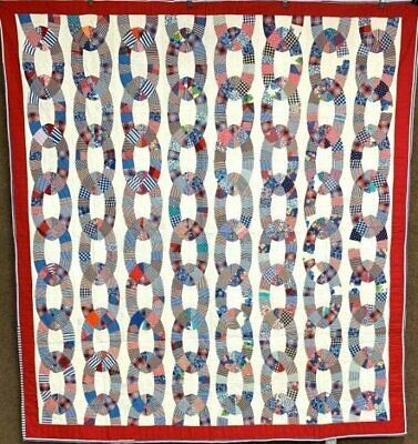 RARE c 1930s Friendship Rings QUILT Vintage RED Blue GIFT