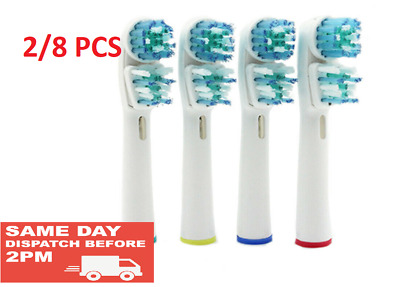 2/8 Compatible Dual Cleaning Double Head Replacement Electric Toothbrush Heads