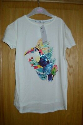 Girls M & S Marks & Spencer Parrot Embroidered Short Sleeve Top T Shirt 7 - 8 yr