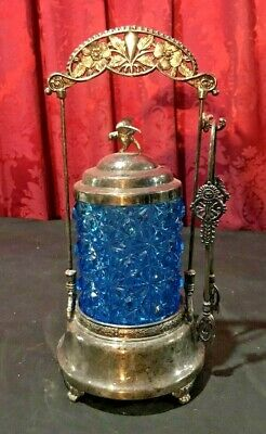 Antique Victorian Pickle Castor With A Figural Bird & Blue Glass Insert