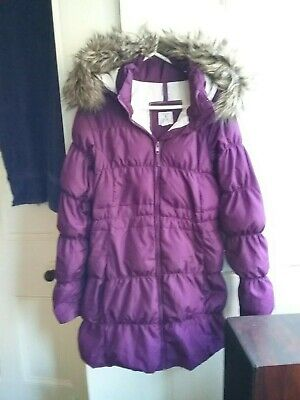 Girls purple super warm quilted winter puffa coat Age 11/12 years