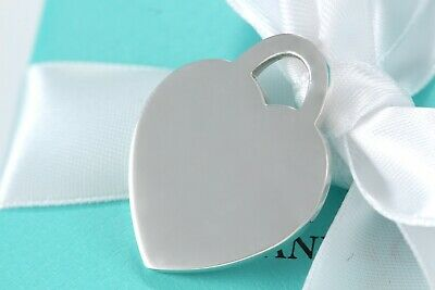 Tiffany & Co. Sterling Silver LARGE Blank for Engraving Heart Tag Pendant Charm