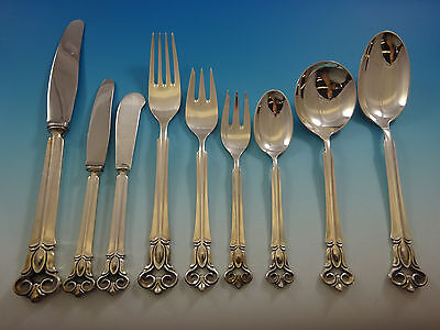 Monica by Cohr Danish Sterling Silver Flatware Set For 12 Service 113 Pcs