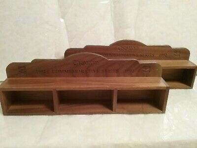 "2 - Chevron Commemorative Series Wooden Display Case Approx 13"" Long"