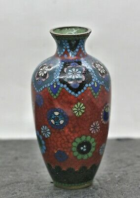 Exquisite Antique Handmade Japanese Brass Enamel Cloisonne Vase c1800s