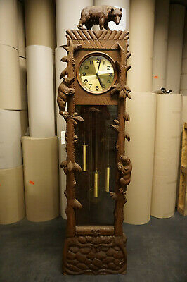 Antique Carved Bear Black Forest Grandfather Clock  Ca.1920