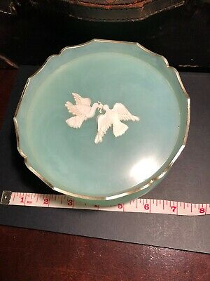 Beautiful Vintage Aqua Mint Plastic Powder Jar Box Doves Avon Rapture