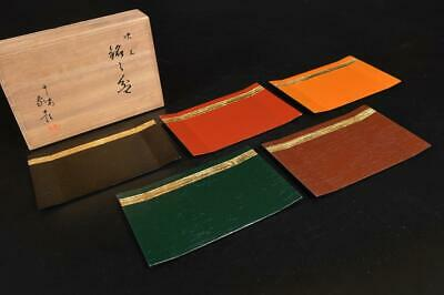 A2755: Japanese Wooden Lacquer ware PLATE/dish 5pcs, Zohiko made w/signed box