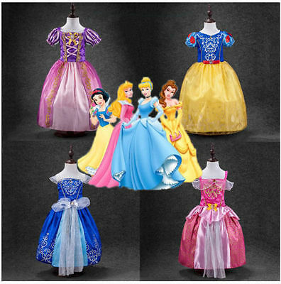 Princess Queen Belle Cinderella Snow White Rapunzel Disney Costume Fancy Dress&&