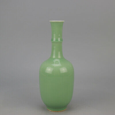 China old hand-carved bean green glaze porcelain vase /Qianlong mark  f01
