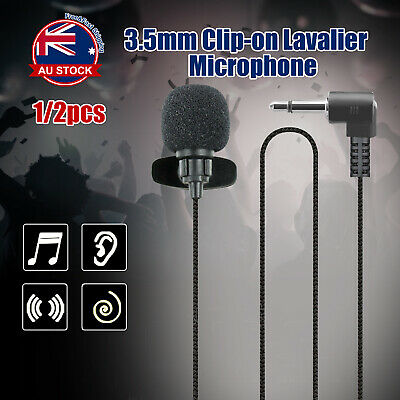 Mic Clip-on Lapel Mini Lavalier Microphone 3.5mm For Mobile Phone PC Recording A