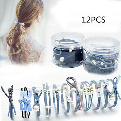 12pcs Elastic Hair Bands Rubber Hair Ties Ponytail Holder Ropes Accessories