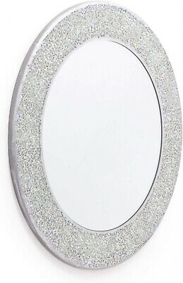 Round Crackle Frame Wall Mirror Glass Mosaic Silver Shine Finish Effect 40 x 40