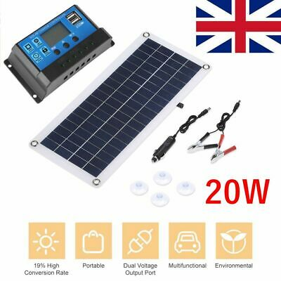 Flexible 20W Dual USB Solar Panel Battery Charger For Car Boats Kit + Controller