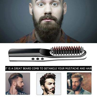 Men 2in1 Electric Fast Comb Beard Straightener Multifunction Hair Curler AU
