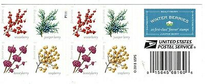 One Book Of 20 Winter Berries Usps First Class Forever Postage Stamps