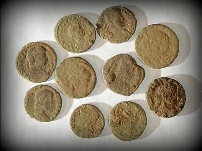 10 ANCIENT ROMAN COINS AE3 - Uncleaned and As Found! - Unique Lot 32801