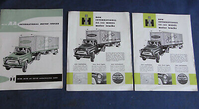 3 x International Truck Sales Brochure 1958 Vintage