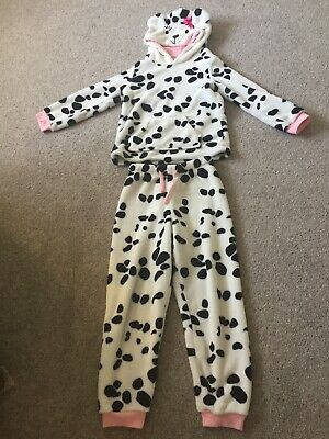 John Lewis . Girls Age 7. Dalmation Dog Pyjamas With Hood.