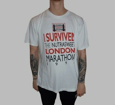 Vintage 1993 London Marathon Survivor T Shirt Large Single Stitch Tee Souvenir