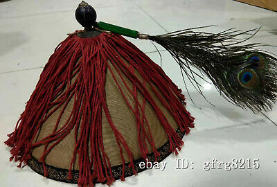 """11.6"""" Rare chinese antique Big collection old Qing Dynasty Feather officer hat"""