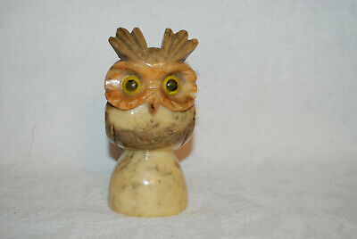 Vintage,Italian Hand Carved Alabaster OWL Stone Figurine Collectible