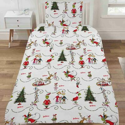 The Grinch Classic Christmas Single Duvet Cover Set Polycotton Boys Girls