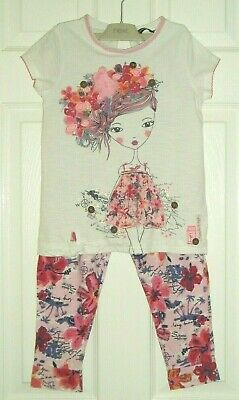 GIRLS TWO PIECE OUTFIT - GEORGE - PINK & WHITE - AGE 7-8yrs