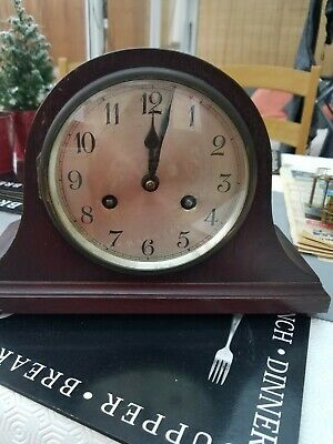 OLD WOODEN CHIMING MANTLE CLOCK working and chiming