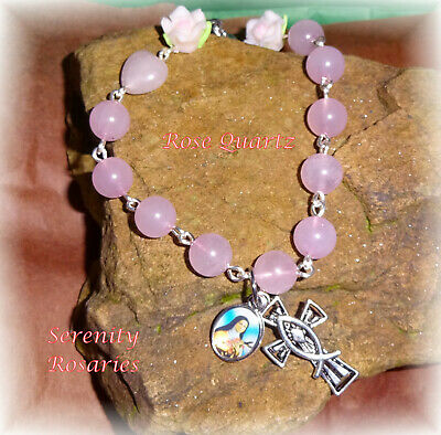 ROSE QUARTZ PINK GEMSTONE HANDCRAFTED 5 DECADE ROSARY Boxed