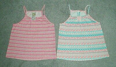 GIRLS STRAPPY TOPS NEON x 2 YOUNG DIMENSION/PRIMARK - PINK & BLUE - AGE 7-8yrs