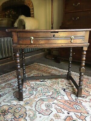17th Century Oak And Elm Side Table With Single Drawer And Turned Legs