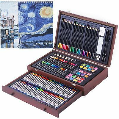145 Piece Deluxe Art Creativity Set with 2 x 50 Page Drawing Pad Art Supplies...
