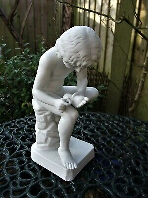 Antique 19Thc Katzhutte Parian Bisque Figure Of Naked Male Spinario -Thorvaldsen