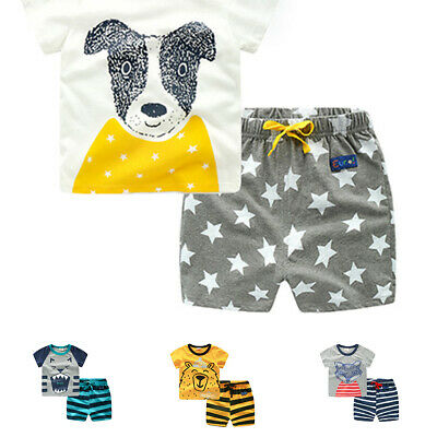 2pc Toddler Kids Boys Summer Tops T-shirt Pants Outfits Set Casual Clothes Set