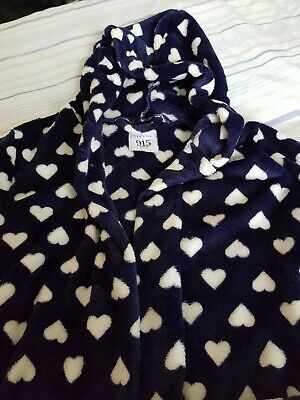 Girls new look 915 size small (9-10) navy with heart pattern