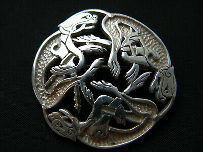 SCOTTISH ZOOMORPHIC CELTIC SOLID SILVER BROOCH ~ Ralph Weston Isle Of Mull 1993