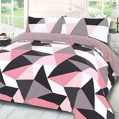 Dreamscene Geometric Shapes Duvet Cover with Pillow Case Bedding Set Blush Grey