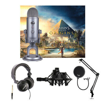 Blue Yeti USB Mic Bundle with Headphones, Shock Mount, Boom Arm and Pop Filter