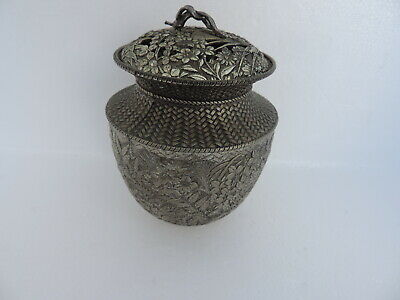 Stunning Vintage Signed Japanese Silver Plated Koro Censer Bowl Amazing Details!