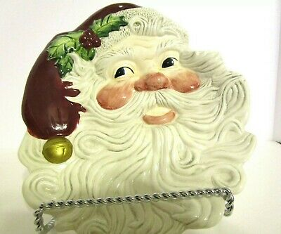 Fitz & Floyd Essentials Santa Canape Plate 8x9 hand painted