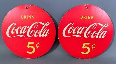 Pre 1959 Lot (2) Vintage 5 CENT Old COCA COLA Hanging FAN PULL Advertising SIGN