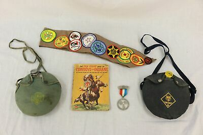 Vtg Lot Of Scouting Collectibles Canteens Sash +
